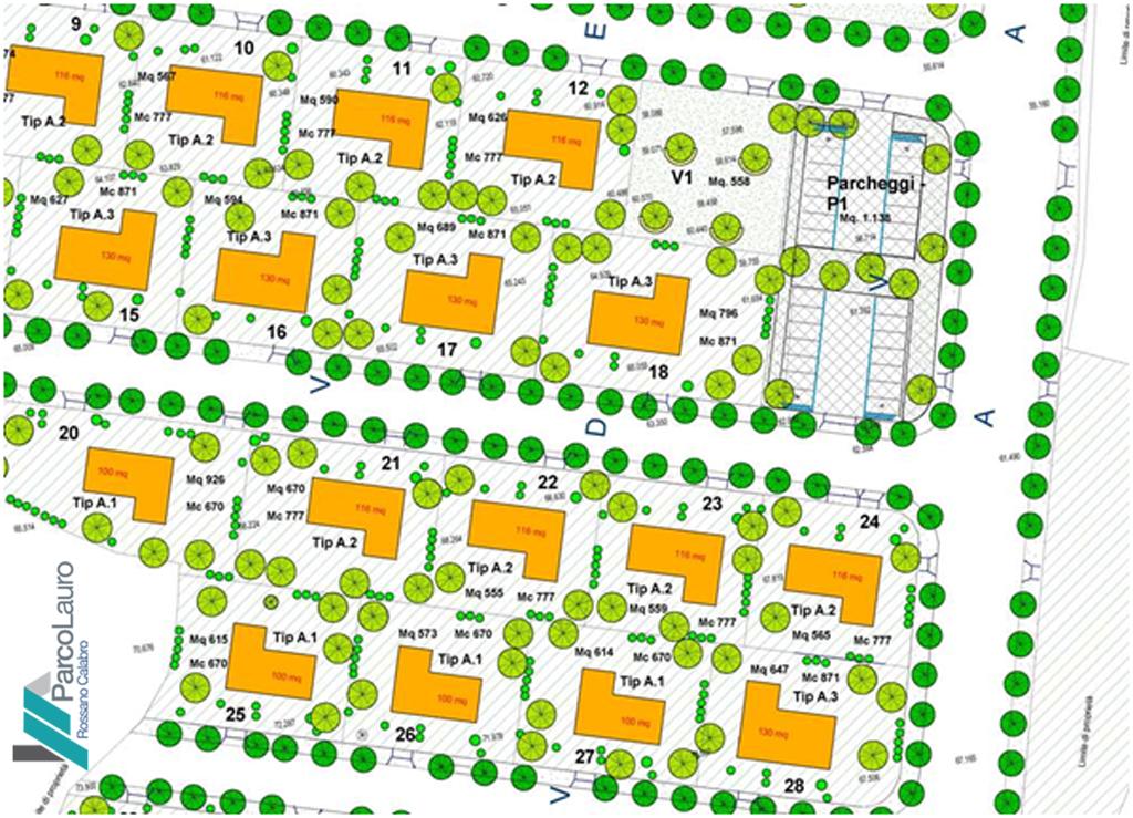 Le ville del parco Lauro Stralcio zone