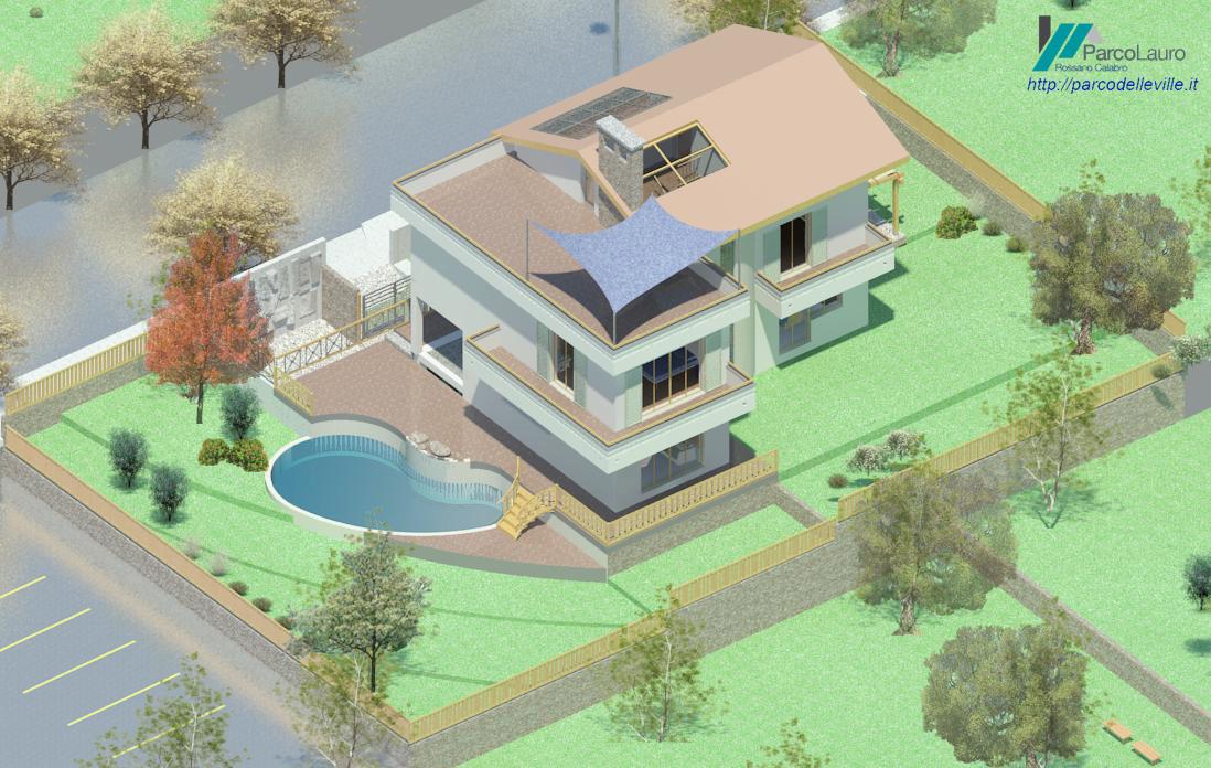 vista dall'alto della villa con piscina